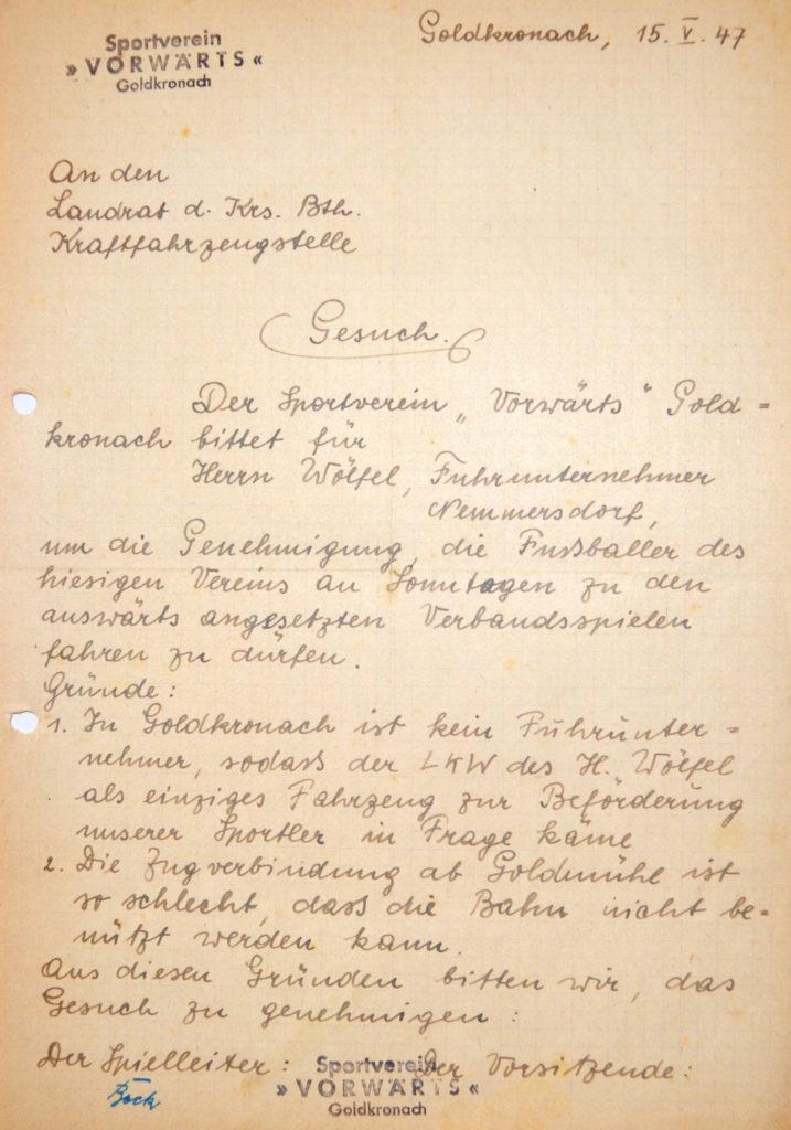 Aus dem Vereinsarchiv: Gesuch des SV Vorwärts Goldkronach an das Landratsamt Bayreuth, 15. Mai 1947.